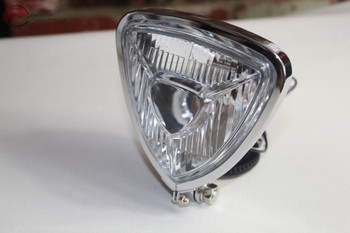 Triangle Headlight Lamp Chrome Flat Back Custom Motorcycle Chopper Bobber Harley