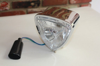 Triange Headlamp Light Chrome Round Back Custom Motorcycle Chopper Bobber Harley