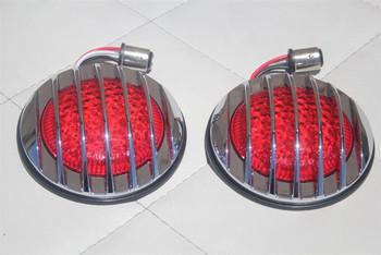 Custom Truck Hot Rat Street Rod Led Taillamp Lights Flush Fit Chrome Grill Bezel
