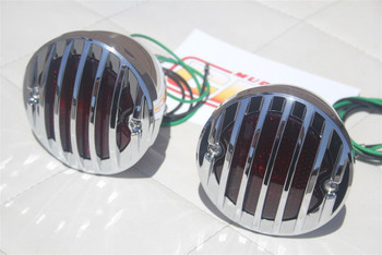 Custom Hot Rod Truck Tail Light Lamps Duolamp Chrome Grill Bezel Right Left Pair