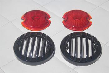 33-36 Ford Tail Light Lamp Lenses W Custom Black Grill Bezels Hot Rod Set Of 4