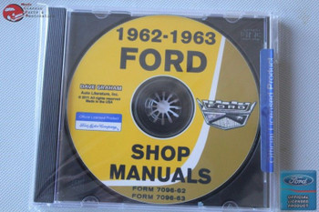 1962 1963 Ford Car Shop Repair Manuals 2 Volumes Cd Rom Disc Pdf New
