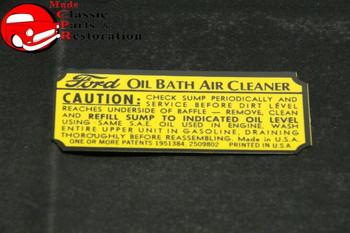 39 40 41 Ford Oil Bath Air Cleaner Decal