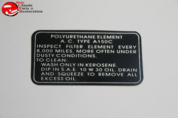 62 63 Oldsmobile Turbo Rocket Air Cleaner Service Instructions Decal