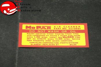 63 64 65 Mopar Air Cleaner Service Instructions Decal Except 2-4Bbl Carbs
