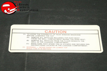70 71 Plymouth Dodge Mopar Convertible Top Caution Decal