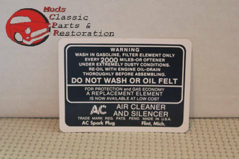 37 38 39 40 41 42 43 44 45 46 47 48 Chevy Dry Element Air Cleaner Decal Black