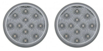 """4"""" 12 Led Reflector Stop Turn Utility Auxiliary Light White Pair"""