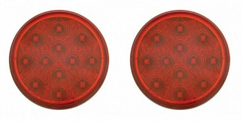 """4"""" 12 Led Reflector Stop Turn Utility Auxiliary Light Red Pair"""