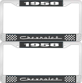 1958 Chevy Chevrolet Gm Licensed Front Rear Chrome License Plate Holder Frame