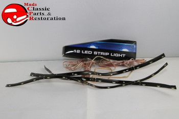 "12 Led 10 3/4"" Flex Strip Lights Custom Car Truck Hot Rod Clearance Red Set Of 3"