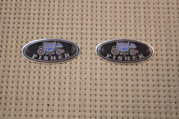 """Body By Fisher"" Aluminum Door Sill Scuff Step Plate Emblems Decals Pair"