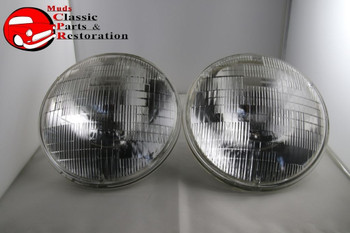 "12 Volt 7"" Round Sealed Beam Round Hi Low Headlight Lamps Chevy Ford Tri Five"