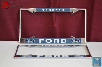 1929 Ford Car Pick Up Truck Front Rear License Plate Holder Chrome Frames New