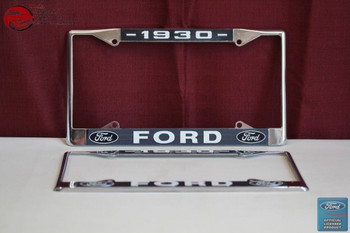 1930 Ford Car Pick Up Truck Front Rear License Plate Holder Chrome Frames New