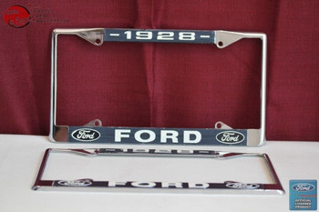 1928 Ford Car Pick Up Truck Front Rear License Plate Holder Chrome Frames New