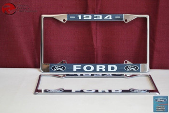 1934 Ford Car Pick Up Truck Front Rear License Plate Holder Chrome Frames New