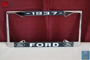 1937 Ford Car Pick Up Truck Front Rear License Plate Holder Chrome Frame New