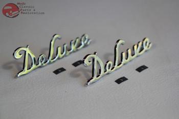 1939 Ford Passenger Car Deluxe Script Side Hood Emblems Chrome Badge Trim