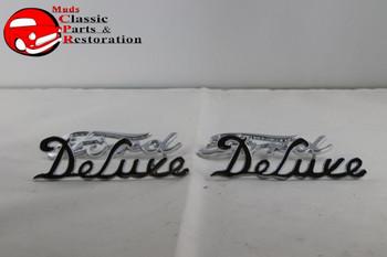 1939 Ford Passenger Car Ford Deluxe Script Side Hood Emblems Chrome Badge Trim