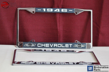 1946 Chevy Chevrolet Gm Licensed Front Rear Chrome License Plate Holder Frames