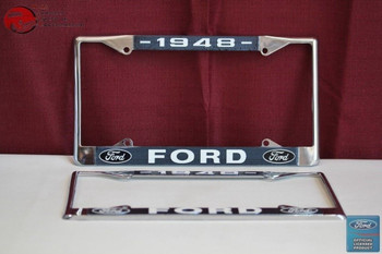 1948 Ford Car Pick Up Truck Front Rear License Plate Holder Chrome Frames New