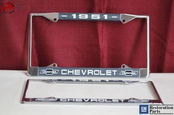 1951 Chevy Chevrolet Gm Licensed Front Rear Chrome License Plate Holder Frames