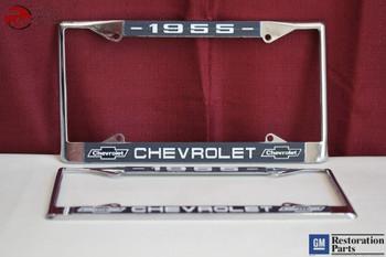 1955 Chevy Chevrolet Gm Licensed Front Rear Chrome License Plate Holder Frames