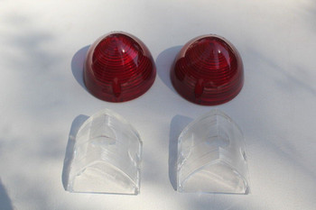1956 Chevy Rear Incandescent Tail Light Lamp Backup Lenses 4 Four Piece Set New