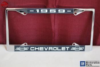 1959 Chevy Chevrolet Gm Licensed Front Rear Chrome License Plate Holder Frame