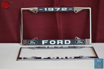 1972 Ford Car Pick Up Truck Front Rear License Plate Holder Chrome Frames New