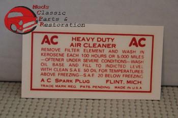 37 38 39 40 41 42 43 44 45 46 47 48 Chevy Oil Bath Air Cleaner Decal