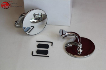 """4"""" Convex Peep Curved Arm Mirror Set Rearview Outside Door Classic Car Truck New"""