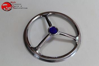 "5"" Lucas Tri Bar Custom Motorcycle Head Lamp Light Trim Cover W Blue Jewel Dot"