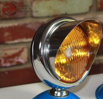 """5"""" Small Chrome Amber Glass Visor Fog Light Lamp 12 Volt Custom Car Pickup Truck"""