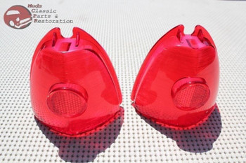 53 Chevy Passenger Car Rear Tail Light Lamp Stop Lens Lenses Pair Set Of 2 New