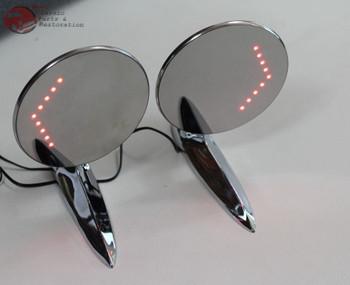 55-57 Chevy Gm Custom Outside Chrome Door Mirror Led Turn Direction Arrow Pair
