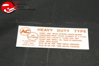 58-62 Impala 63-64 Chevy/Gmc Truck 283 Horsepower Oil Bath Air Cleaner Decal
