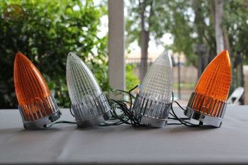 59 Cadillac Bullet Tail Lights Amber Clear Lenses Pair Custom Truck Hot Rat Rod