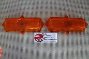 60-66 Chevy Gm C K Series Stepside Truck Park Light Lamp Lenses Amber Set Of 2