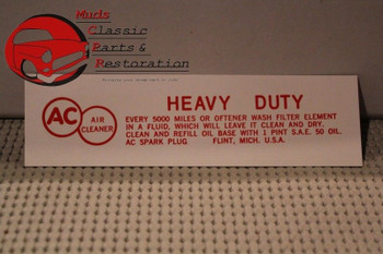 61 Chevy 2 & 4-Barrel V-8 Air Cleaner Decal