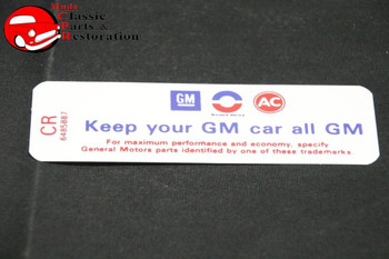 62-65 Gmc/Chevy Truck Valve Cover Decal