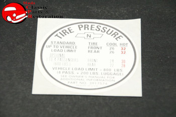 67 Camaro Ss Tire Pressure Decal
