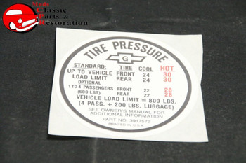 67 Camaro Tire Pressure Decal