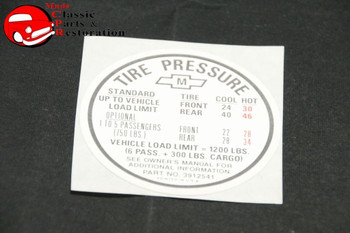 67 Nova Station Wagon Tire Pressure Decal