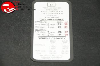 69 70 Impala Tire Pressure Decal, 8.25/14 Tires