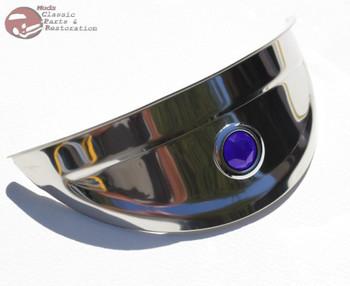 """7"""" Stainless Headlight Blue Dot Headlight Visor Bulb Trim Cover Chopper Bobber"""