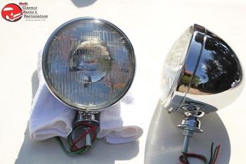 """7"""" Dietz Hot Rat Street Rod Roadster Chrome Headlight Lamp Buckets Bulbs 12 Volt"""