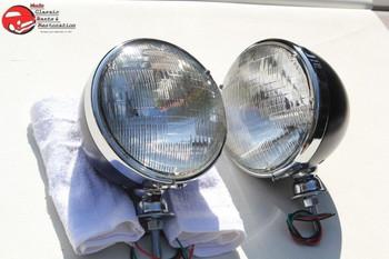"""7"""" Dietz Hot Rat Street Rod Roadster Black Headlight Lamp Bucket Bulbs 12 Volt"""