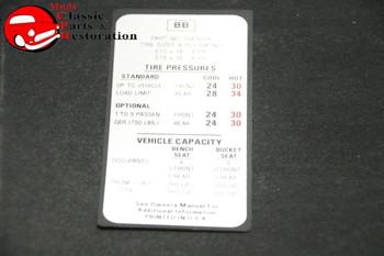 70 Nova Tire Pressure Decal